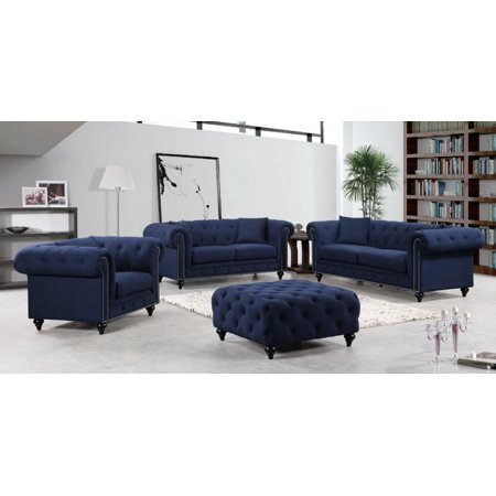 Meridian 662 Chesterfield Living Room Set 3pcs in Navy Fabric Contemporary Style Contemporary Living Room Set