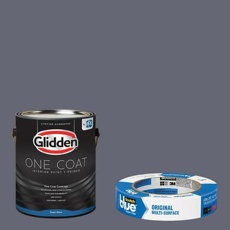 Glidden One Coat, Interior Paint + Primer, Almond Cream, Flat Finish, Quart with ScotchBlue Painters Tape Original Multi-Use, .94in x 60yd(24mm x 54,8m Bundle