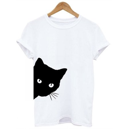 Cat Print Women Casual Simple Short Sleeve T-shirt](Cat Woman)