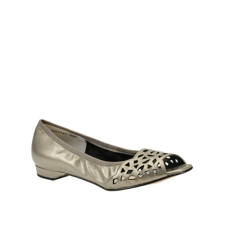 Mark Lemp Classics Womens Mercy Leather Peep Toe Slide Flats, Pewter, Size 7.5 Boston Celtics Classics Flat