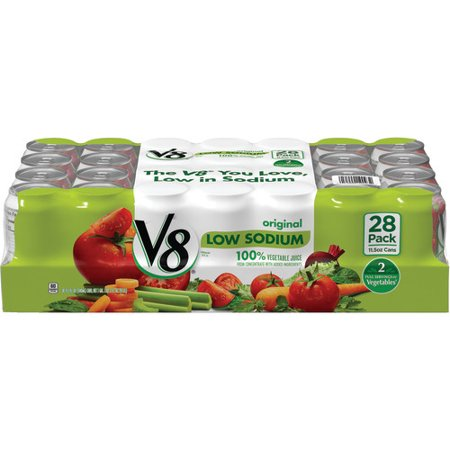 V8 Low Sodium 100% Vegetable Juice, 11.5 oz. Can (Pack of 28)