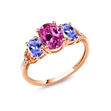 2.59 Ct Pink Created Sapphire Blue Tanzanite 10K Rose Gold Diamond Accent Ring