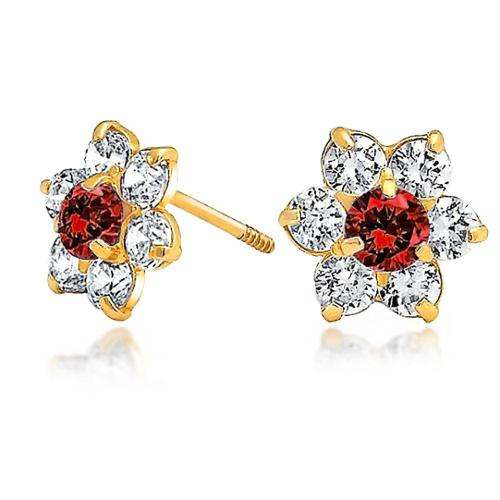 Bling Jewelry Kids Simulated Garnet CZ Screw Back Flower Studs 14k Gold