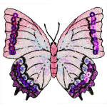 Expo Iron-On Embroidered Sequin Butterfly Applique