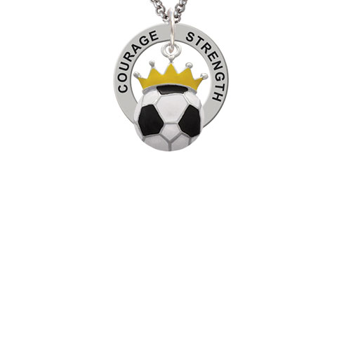 Soccerball - Crown Strength Wisdom Courage Affirmation Ring Necklace