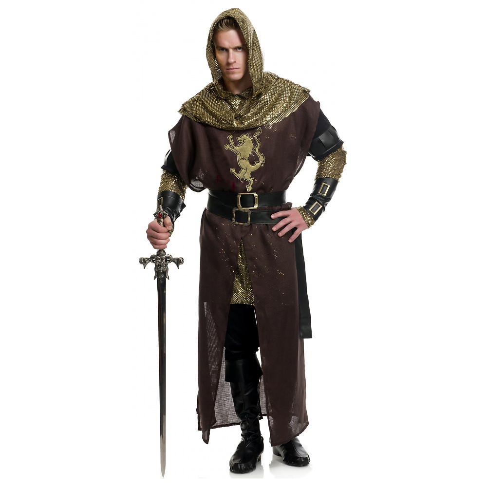 Chivalrous Knight Adult Costume Brown and Gold - X-Small