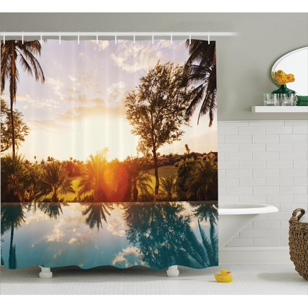Tropical shower curtain set home with swimming pool at Swimming pool shower curtain