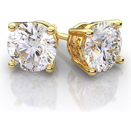 14K Gold 2.0Cttw Round Genuine White Topaz Gemstone Stud Earrings ()