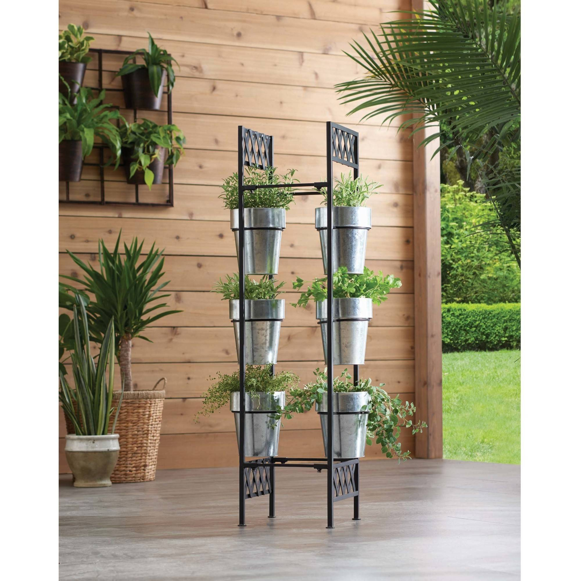 7-Piece Galvanized-Finish Vertical Planter by DEWAN AND SONS
