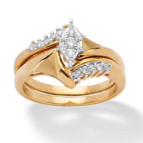 1/5 TCW Round Diamond 10k Yellow Gold 2-Piece Bridal Engagement Wedding Ring Set - Size 7