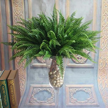 7 Artificial Lifelike Large Silk Boston Fern Plant Green Grass Home