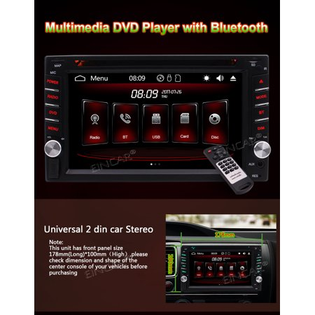 Backup Camera Included!2 Din Headunit Car Stereo Radio with 6.2'' Capactive Touch Screen Support Colorful Button Car DVD Player 1080P Video AUX FM AM RDS Bluetooth Auto Radio USB/TF Card +Remote Con