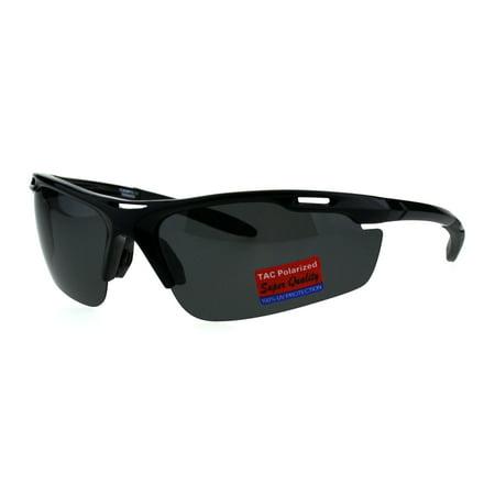 f55e273637 Polarized Antiglare Mens Runners Half Rim Sport Light Weight Sunglasses All  Black