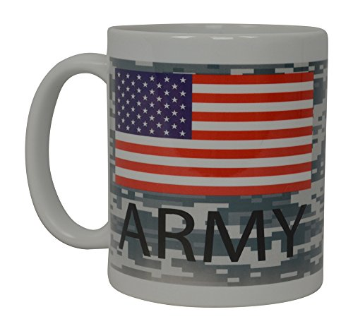 Best Coffee Mug United States Army Flag Camo American Patriot Novelty Cup Great Gift Idea For Women Men USA American Military Veteran (Flag)