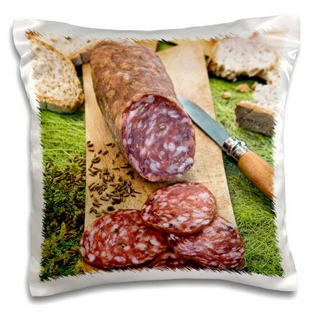 Toscana Italian - 3dRose Cuisine, Finocchiona, Tuscan salami, Florence, Italy - EU16 NTO0465 - Nico Tondini - Pillow Case, 16 by 16-inch
