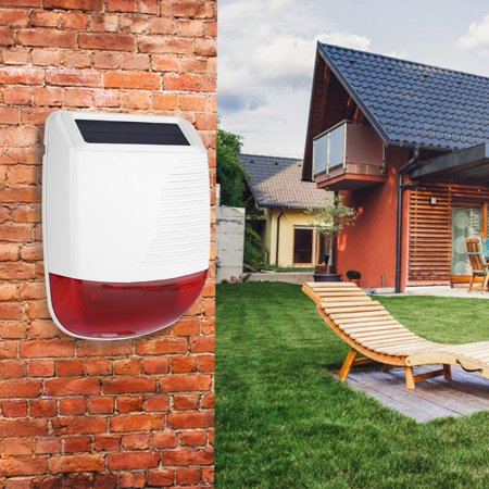 Image of Mgaxyff 433MHz Wireless Outdoor Waterproof Solar Power Light Sound Siren Alarm for GSM Alarm System,Light Siren Alarm,Solar Powered Siren Alarm