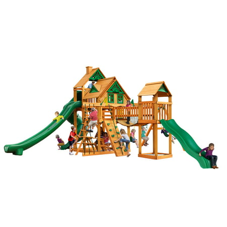 Gorilla Playsets Treasure Trove II Treehouse Wooden Swing Set with 3 Slides, Clatter Bridge and Tower, and Rock Climbing Wall