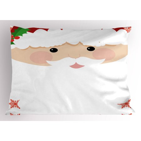 Kids Christmas Pillow Sham Cartoon Face of Santa with Pink Cheeks White Beard and Mistletoe on His Hat, Decorative Standard Size Printed Pillowcase, 26 X 20 Inches, Multicolor, by Ambesonne](Kid With Beard)
