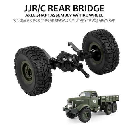 JJR/C Rear Bridge Axle Shaft Assembly w/ Tire Wheel for Q60 1/16 RC Off-road Crawler Military Truck Army (Mobile Home Axles And Tires For Sale)