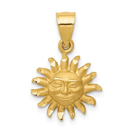 14k Yellow Gold Sun Pendant Charm Necklace Celestial Gifts For Women For Her