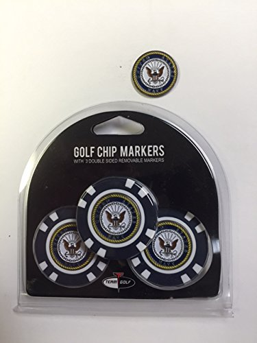 U.S. Navy 3- PACK Golf POKER CHIPS, with markers, BONUS MARKER FREE by