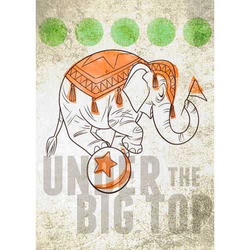 Oopsy Daisy - Big Top Elephant Canvas Wall Art 10x14, Fancy That Design House & Co