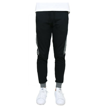 Men's Slim-Fit French Terry Jogger with Contrast Side Stripe (S-2XL) Woven Contrast Side Stripes