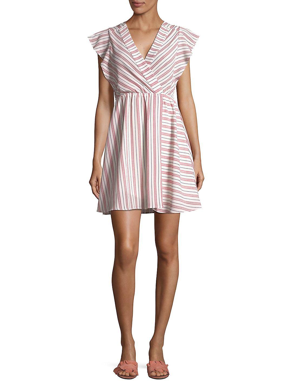 Striped Surplice Neckline Dress
