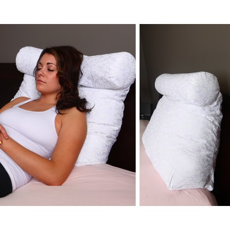 DeluxeComfort Relax In Bed pillow - Best Lounger Support Pillows with Neck Roll for Reading or Bed