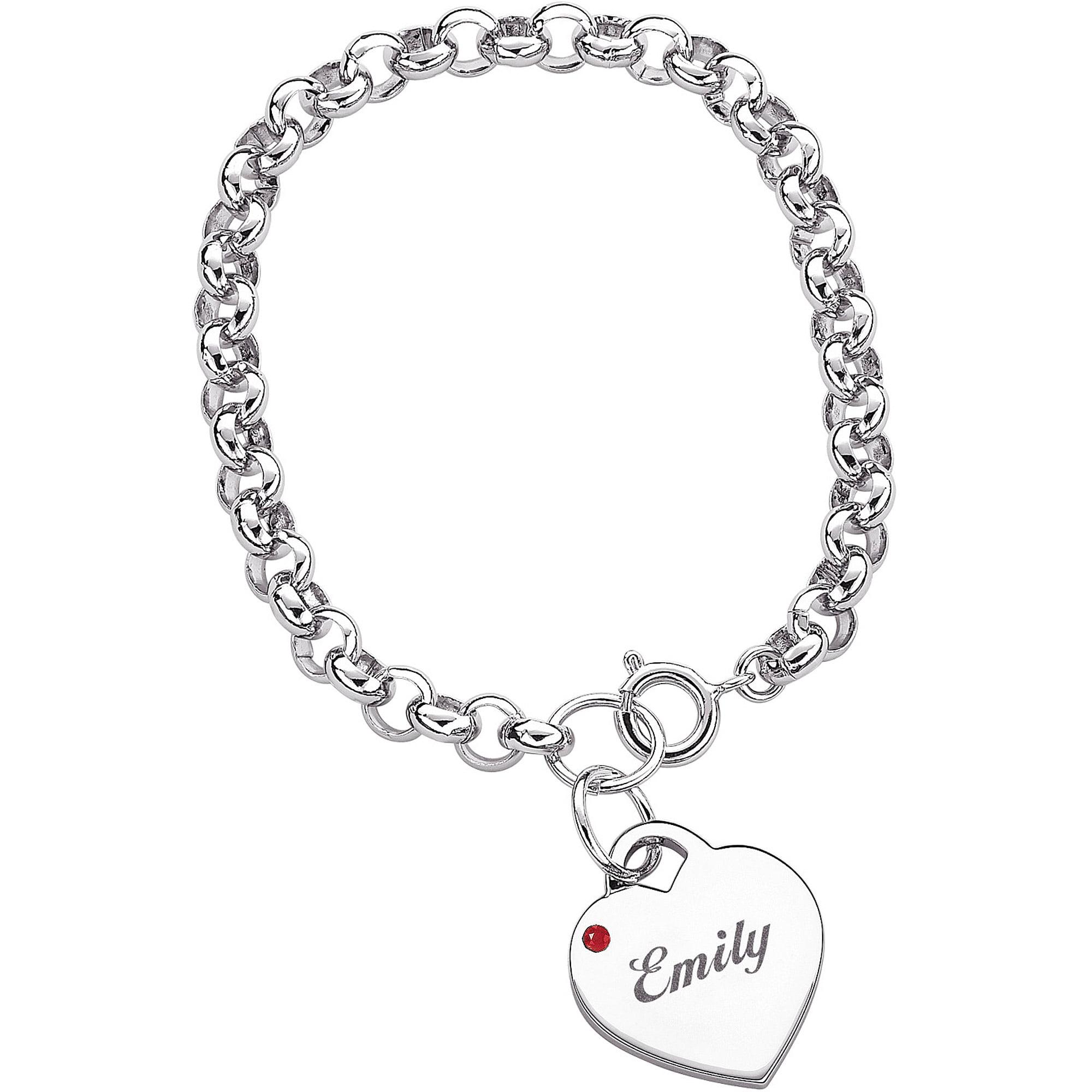 Personalized Name & Birthstone Heart Charm Bracelet