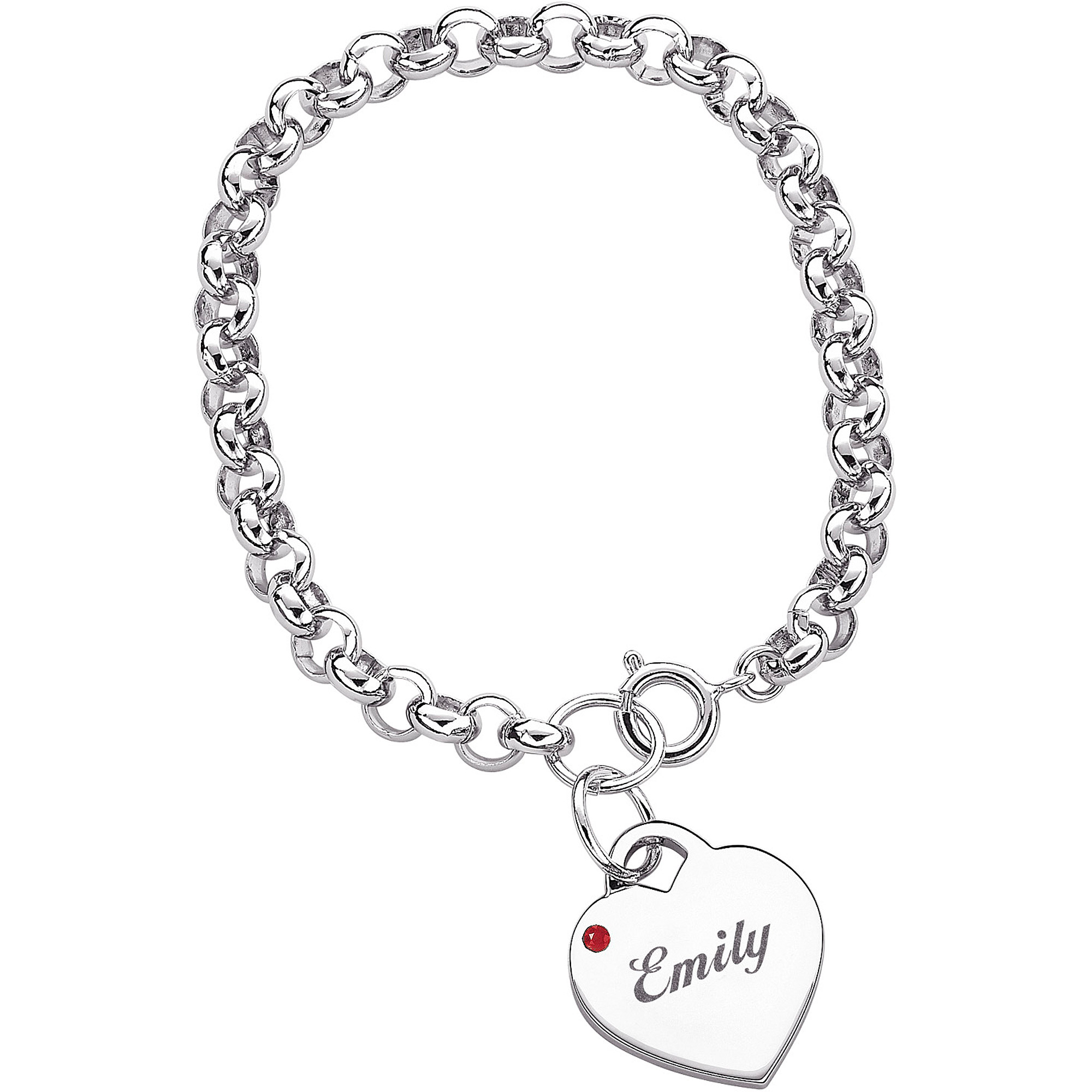Schön Personalized Name U0026 Birthstone Heart Charm Bracelet