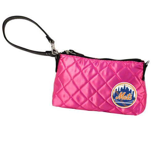 MLB - New York Mets Pink Quilted Wristlet