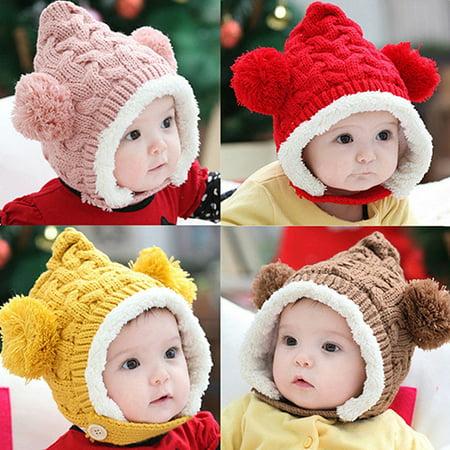 Kid Baby Girl Boy Toddler Winter Warm Knitted Beanie Cap Earmuffs Ball Hat (Toddler Scarecrow Hat)