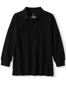 Wonder Nation Boys School Uniform Long Sleeve Polo (Little Boys & Big Boys)