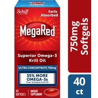 Megared Ultra Strenth Omega-3 Krill Oil Softgels, 750 mg, 40 ct Softgels