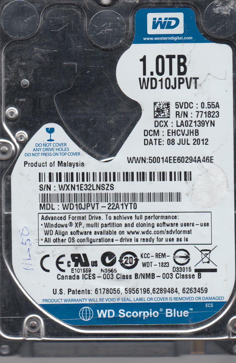 WD10JPVT-22A1YT0, DCM EHCVJHB, Western Digital 1TB SATA 2.5 Hard Drive by Western Digital
