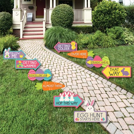 Big Easter Eggs (Easter Egg Hunt Arrow Yard Signs - Outdoor Easter Bunny Yard Decorations - 10)