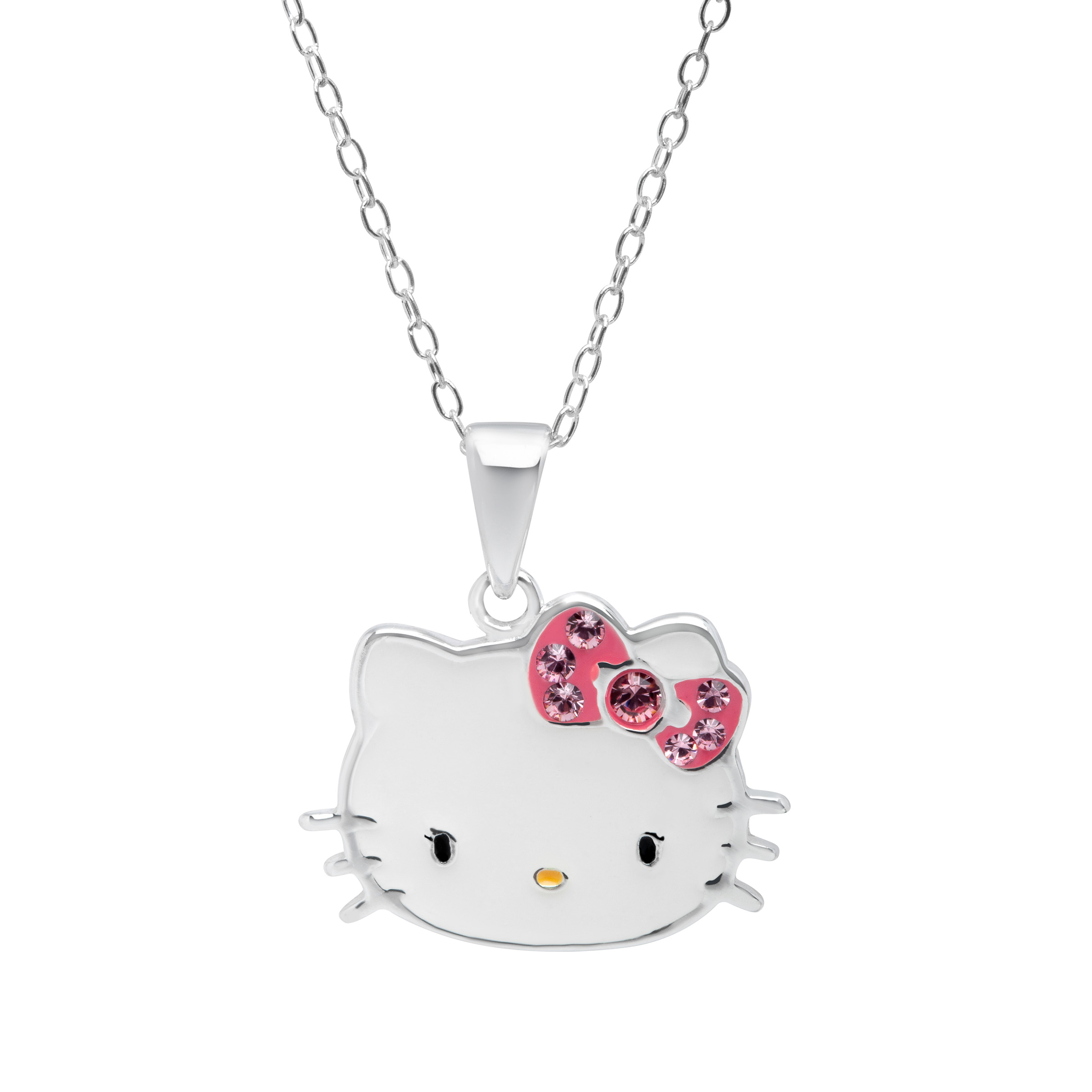 Hello kitty pendant necklace with pink swarovski crystal in sterling hello kitty pendant necklace with pink swarovski crystal in sterling silver walmart mozeypictures Image collections