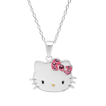 25aaa454c Jewelry.com - Hello Kitty Pendant Necklace with Pink Swarovski Crystal in  Sterling Silver - Walmart.com