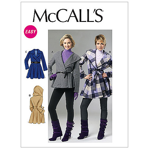 McCall's Pattern Misses' Lined Coats and Belt, EE (14, 16, 18, 20)