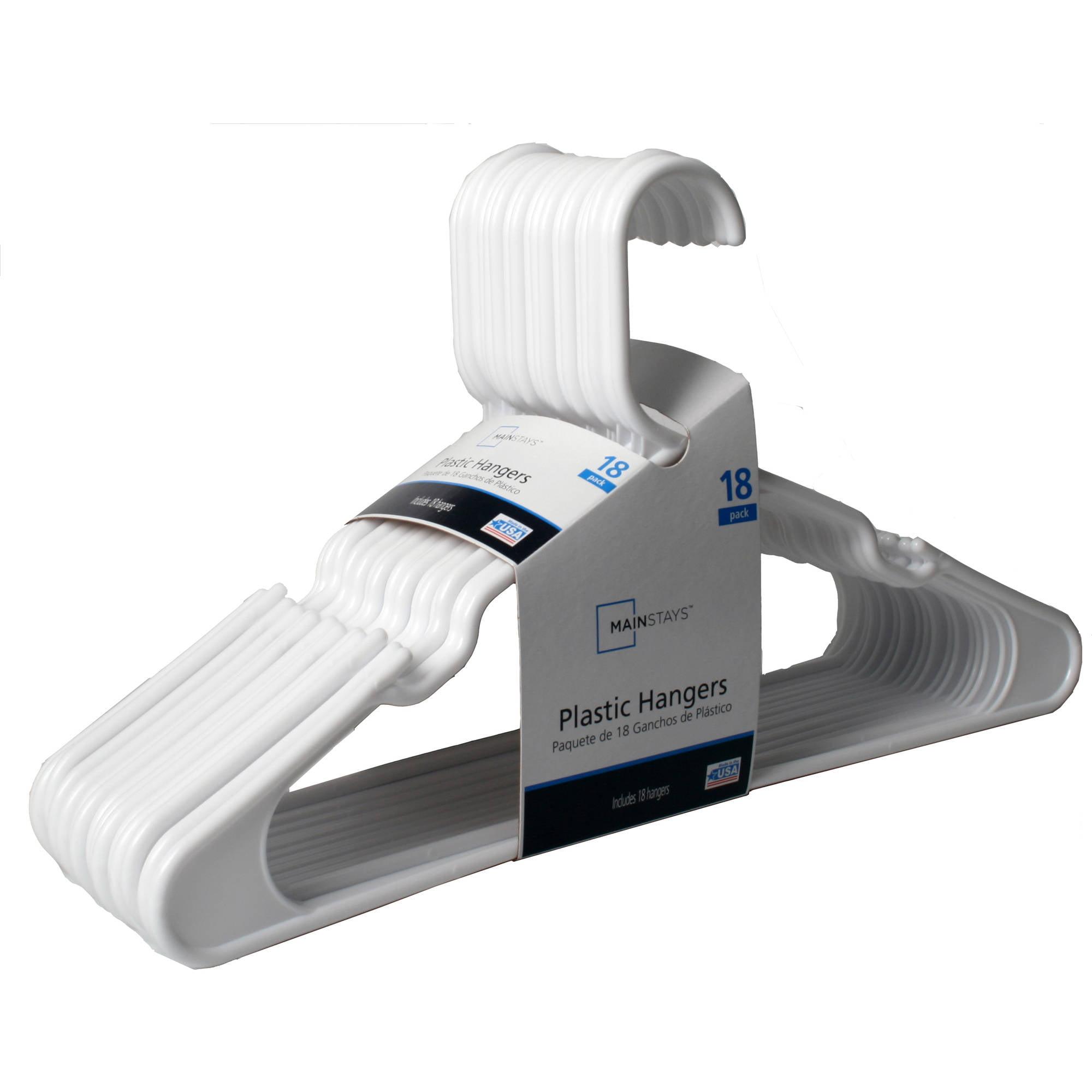 Mainstays 18 Pack Plastic Hanger White Walmart Com