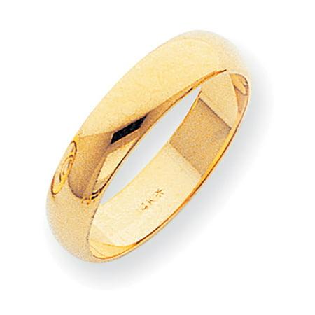 14k Yellow Gold 5mm Half-Round Wedding Band Ring