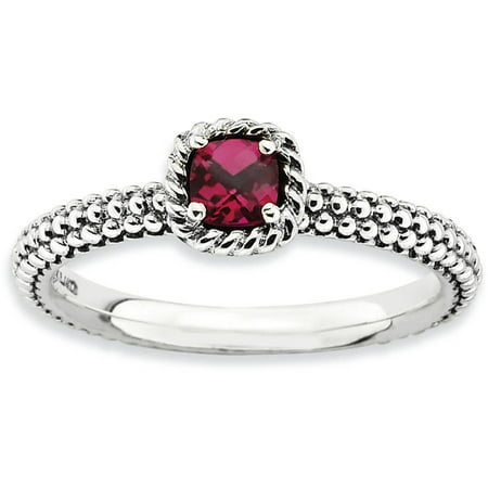 Checker-Cut Created Ruby Sterling Silver Antiqued - Italian Ruby Ring