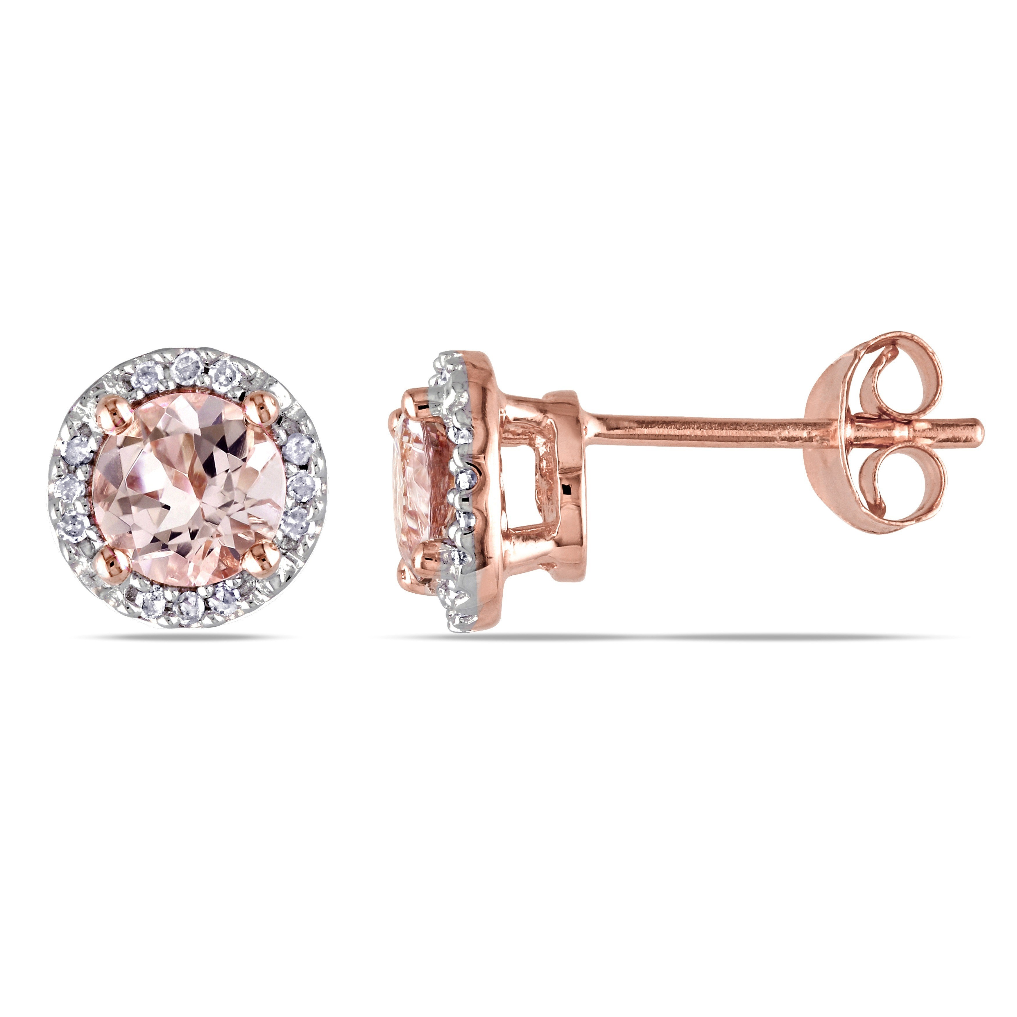 57a7dd80d1405 Rose Goldplated Sterling Silver Morganite and Diamond Accent Halo Stud  Earrings