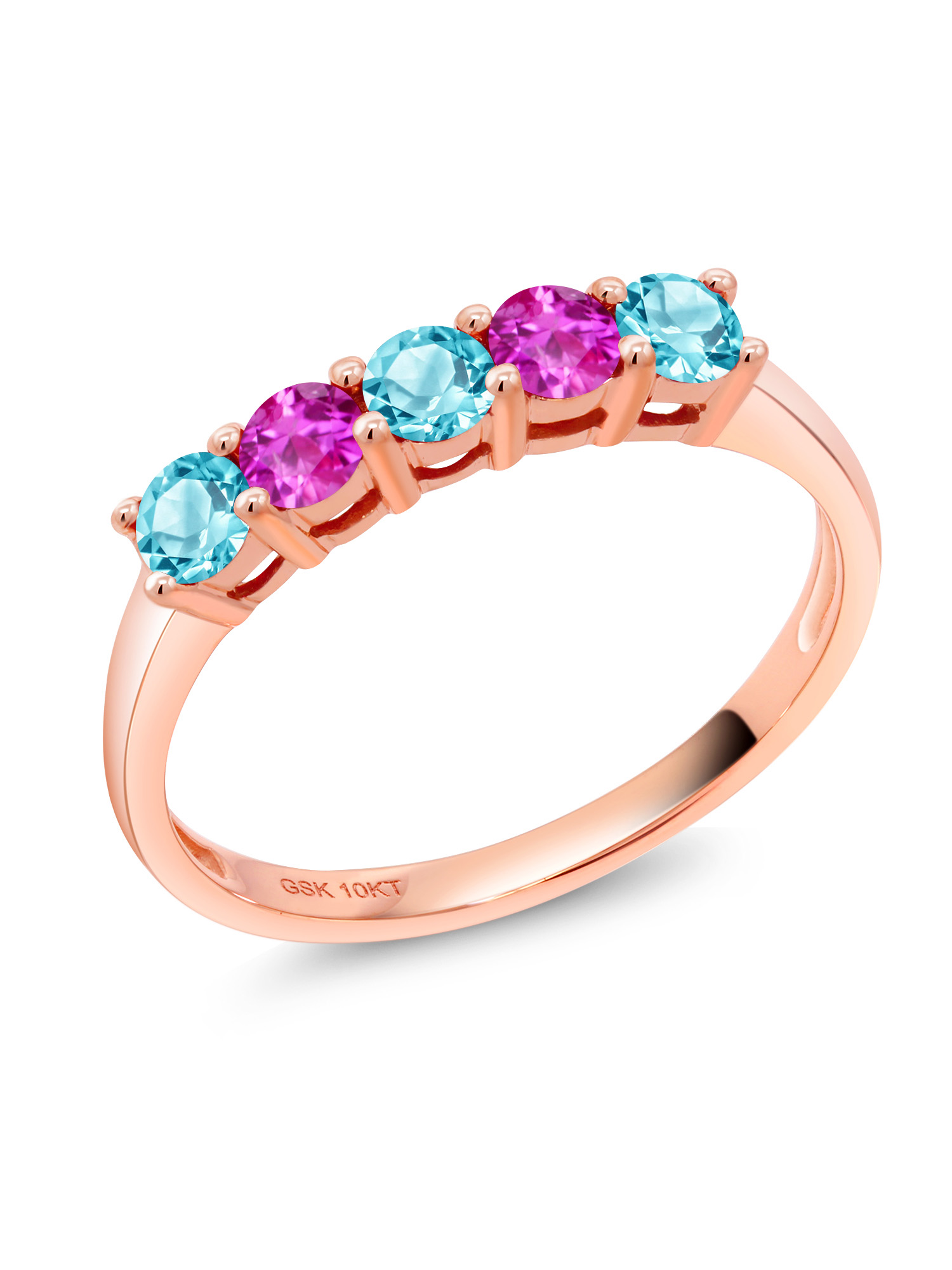0.71 Ct Round Swiss Blue Topaz Pink Sapphire 10K Rose Gold Ring by