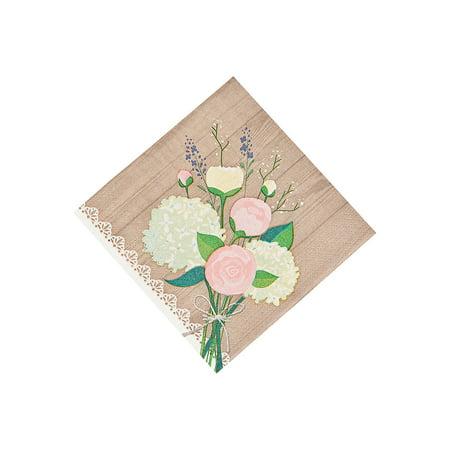 Rustic Wedding Bev Napkins for Wedding - Party Supplies - Licensed Tableware - Licensed Napkins - Wedding - 16 Pieces (Personalized Wedding Napkins)