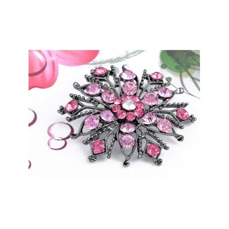 ChicBronze Tone Fuchsia Rose Pink Flower Wheel Crystal Rhinestone Pin Brooch