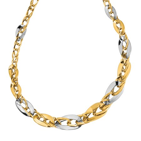 Graduated Curb Link (14K Two-tone Polished Fancy Double Curb Link Graduated Necklace)