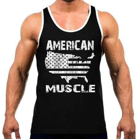 Men's American Muscle Map Tee White Trim Black Tank Top Medium Black - America Muscle