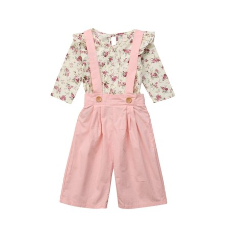 Baby Girls Bib Strap Overalls Set Long Sleeve Floral Ruffle Tops & Pink Strap Wide Leg Pants 2pcs - Chucky Overalls For Toddlers